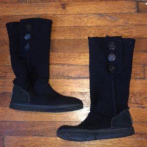 Ugg classic cardy tall boots 5819 black sz 9 warm